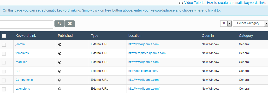 Keywords Linking Manager