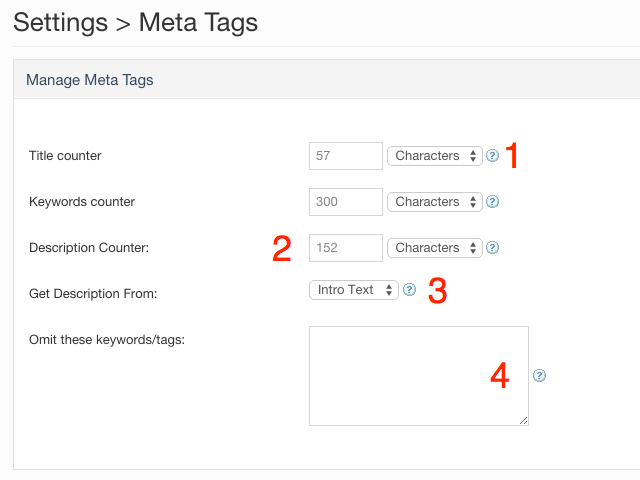 Metatags settings